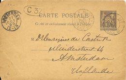 LOT 1802014-ENTIER 10c SAGE SUR CP DE PARIS PLACE DE LA BOURSE 30/10/1890 POUR AMSTERDAM -CACHET D'ARRIVEE DU 31-10-1890 - Postal Stamped Stationery