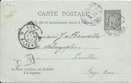 LOT 1802017-ENTIER 10c SAGE SUR CP DE PARIS DU 27 SEPTEMBRE 1896 POUR ZWOLLE ( PAYS-BAS ) - Postal Stamped Stationery