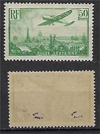 "FR Aerien YT 14 (PA) "" Avion Survolant Paris, 50F. Vert-jaune "" 1936 Neuf* Signé - 1927-1959 Mint/hinged"