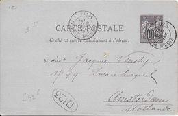 LOT 1802019-ENTIER 10c SAGE SUR CP DE PARIS DU 9 SEPTEMBRE 1879 POUR AMSTERDAM - Postal Stamped Stationery