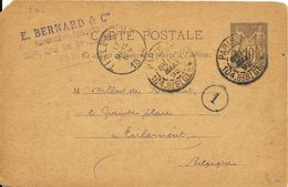 LOT 1802020-ENTIER 10c SAGE SUR CP DE PARIS DU 16 MARS 1892 POUR TIRLEMONT (BELGIQUE ) - Entiers Postaux
