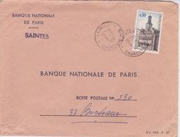 ENVELOPPE  A ENTETE BANQUE NATIONALE DE PARIS A SANTES - 1967 - France