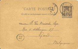LOT 1802021-ENTIER 10c SAGE SUR CP DEORLEANS DU 2 AVRIL 1891 POUR GAND (BELGIQUE ) - Postal Stamped Stationery