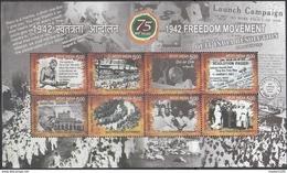 INDIA, 2017, Freedom Movement, 75 Years Of 1942  Movement, Mahatma Gandhi, Quit India, Miniature Sheet Of 8v, MNH, (**) - India