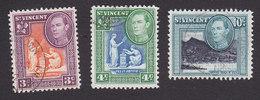 St Vincent, Scott #181-182, 184, Used, Scenes Of St Vincent, Issued 1952 - St.Vincent (...-1979)