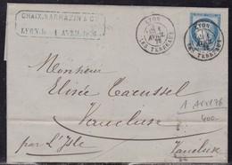 Rhone, Yvert N° 60A, Càd Lyon Du 1er Avril 1876 - 1er Jour D'emploi Exclusif Du Cachet à Date - Marcophilie (Lettres)