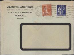 YT 365 C Roulette Du 65 C Outremer Enveloppe Commerciale Vilmorin Andrieux Paris Producteur Graines Obl Paris Rue Halles - Coil Stamps
