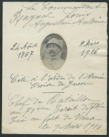 Avis De Déces De Louis Augustin Antoine Raynal Commandant Du Fort De Vaux Jusqu Au 9 Mars 1916 ( Lire Détail  - Lh135 - Documents Historiques