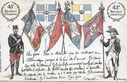 MILITARIA UNIFORMES DRAPEAUX DU 45e REGIMENT D'INFANTERIE Signée G. Bonnet EDIT. E. GRENINGAIRE POSTEE BAVIERE 1905 - Uniformes