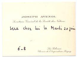 Visitekaartje - Carte Visite - Joseph Avenol - La Pelouse - Pregny - Cartes De Visite