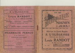 HORAIRE TRAIN - MIGNON JURA - ETE 1927 - Europe