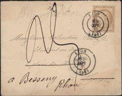 Taxe 1877 Ceres Bistre CAD T17 LYON Réexpédiée Bessenay Rhône Taxe Manuscrite 25 Pli Territorial Plus Local YT 55 Tarif - Postmark Collection (Covers)