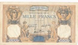 H32 - FRANCE - Billet De 1000 Francs Cérès Et Mercure - 1 000 F 1927-1940 ''Cérès Et Mercure''