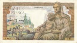 H32 - FRANCE - Billet De 1000 Francs Déesse DEMETER - 1871-1952 Anciens Francs Circulés Au XXème