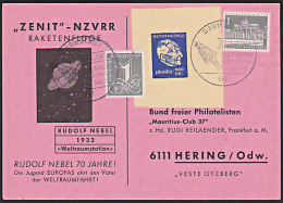 Raketenflug SSt. DARMSTADT ZENIT Mit Vignette Tagung Rudolf Nebel, Vater Der Weltraumfahrt - Cartas