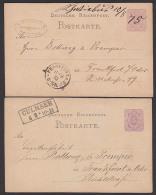 Schwiebus Culmsee 2 Ganzsachenkarten Von 1875 Nach Frankfurt /Oder - Deutschland