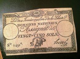 FRANCE- VINGT-CINQ SOLS- DOMAINES NATIONAUX ASSIGNAT - ...-1889 Tijdens De XIXde In Omloop