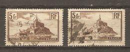 France - 1929/31 - Mont Saint-Michel - YT 260 Type II Et YT 260a Type I - Variété - Varieties: 1921-30 Used