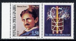 R.S.KRAJINA 1996 Tesla Anniversary + Label MNH / **.  Michel 58 - Croatia