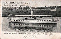 ! Seltene Ansichtskarte Carl Stein, Brandenburg A.d. Havel, Personenschifffahrt, Dampfer Deutschland, Werder, 1908 - Brandenburg