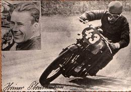 Photo Originale Motocyclisme & Motard HEINER FLEISCHMANN 1914-1963, Pilote De 1937 à 1950 Des NSU. - Cyclisme