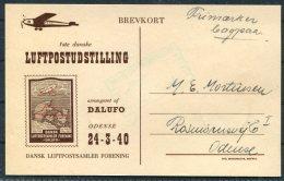 1940 Denmark Luftpostudstilling Odense Flight Dalufo Postcard - Covers & Documents