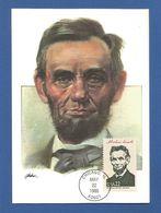USA 1986 , Abraham Lincoln - Maximum Card - First Day Chicago MAY 22 1986 - Maximumkarten (MC)