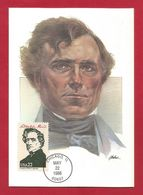 USA 1986 , Franklin Pierce - Maximum Card - First Day Chicago MAY 22 1986 - Maximumkarten (MC)
