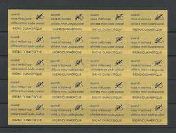 FRANCE - BLOC DE 20 VIGNETTES QUAND VOUS M ECRIVEZ UTILISEZ MON CODE POSTAL 59240 DUNKERQUE - Commemorative Labels