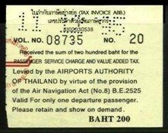 THAILAND, Airport Tax, Used, F/VF - Thaïlande