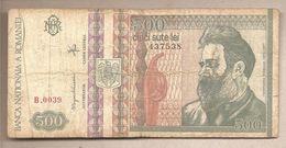 """Romania - Banconota Circolata Da 500 Lei """"Filagrana Brancusi Destro"""" P-101b - 1992 - Romania"""