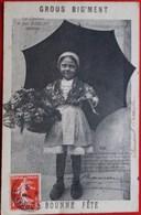 Cpa ENFANT PETITE FILLE  SOUS UN GRAND PARAPLUIE ,JEAN RAMEAU LITTLE GIRL  UNDER UMBRELLA OLD PC - Scènes & Paysages