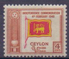 CEYLON :1949: Y.273 Dentelled/neuf/MNH :  ## Independance Commemoration 4th Februari 1948 ## : FLAG,DRAPEAU, - Sri Lanka (Ceylan) (1948-...)