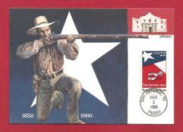USA 1986 , Texas Statehood - Maximum Card - First Day San Antonio MAR 2 1986 - Maximumkarten (MC)