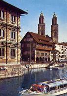 Zurich - Blick Auf Rathaus - Zunfthauser Und Grossmunster - Formato Grande Viaggiata – E 4 - ZG Zoug