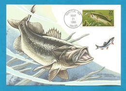 USA 1986 , Largemouth Bass - Maximum Card - First Day Of Issue March 21 1986 Seattle - Maximumkarten (MC)