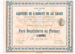 Action Ancienne - Sté Des Liqueurs De L'Abbaye De La Sauve - Titre De 1901 - - Industrie