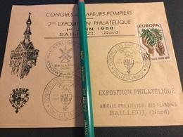 BAILLEUL - 1958 - Enveloppe Commémorative CONGRÈS SAPEURS POMPIERS - Marcophilie (Lettres)