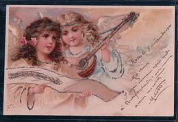 Angelots Et Mandoline Par Illustrateur, Litho Et Brillants (7.12.1901) - Anges