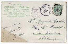 """1905--cachet Ambulant """"Agen à Toulouse""""-Type Blanc-cachet LA VERPILLIERE-38 Sur Carte Postale Fantaisie Muguet,roses - Marcophilie (Lettres)"""