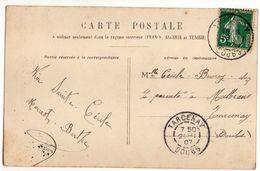 1907--Beau Cachet  TARCENAY - 25  Sur  CPA  Femme Et Fleurs - Marcophilie (Lettres)