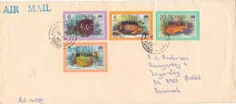 Tuvalu Cover Overprinted OFFICIAL Sent Air Mail To Denmark 28-2-1982 Topic Stamps FISH - Tuvalu (fr. Elliceinseln)