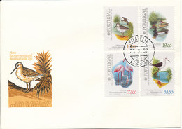 Portugal Cover With Complete Set Of 4 BIRDS From 1982 With Postmark Lisboa 22-3-1987 And OFERTA Postmark On The Backside - FDC