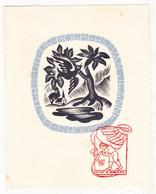 Ex Libris Jeanne Jacobs - Peeters / Stempel Gesigneerd N. Degouy † Antwerpen 1979 / Hout Gravure Bois Japans Vloeipapier - Ex-libris