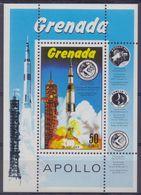 GRENADA :1971: Y.BF16 Dentelled/neuf/MNH:## The Launching To The Moon Of APOLLO ##:AERONAUTICS,SPACE TRAVEL,ROCKET,MOON, - Space