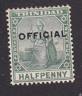 Trinidad, Scott #O8, Mint Hinged, Britannia Overprinted, Issued 1909 - Trinidad & Tobago (...-1961)