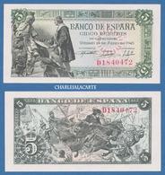 1945 SPAIN  5 PESETAS  ISABELLA COLUMBUS  KING FERDINAND 1492 BATTLE GRANADA  KRAUSE 129a  EXCELLENT UNC. CONDITION - 5 Pesetas