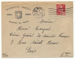 """FRANCE => Enveloppe Entête """"Secouristes Français Infirmiers Volontaires - Section Du Mans"""" - 6F Gandon OMEC Le Mans 1947 - 1945-54 Marianne Of Gandon"""