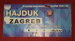 NK HAJDUK SPLIT- NK ZAGREB 2007/08 - Match Tickets