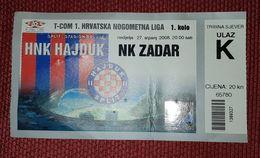 NK HAJDUK SPLIT- NK ZADAR 2008. - Match Tickets